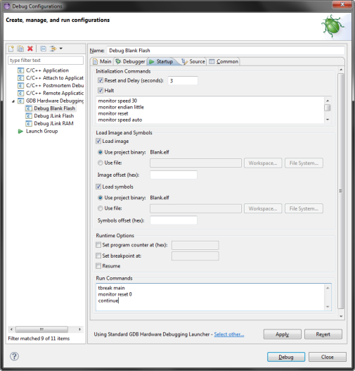 Eclipse Flash debug configuration (Startup)