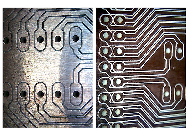 PCB milling result