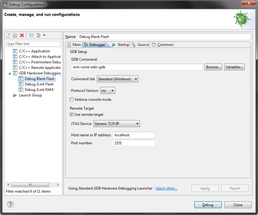 Eclipse Flash debug configuration (Debugger)