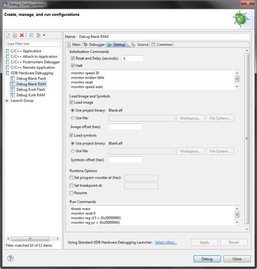 Eclipse RAM debug configuration (Startup)